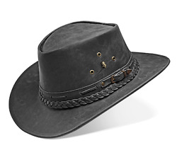 Cowboy Hat Western Real Leather For Mens And Womens Vintage Black Handmade Hat