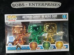 Funko Pop Heroes, Aquaman Arthur Curry In Hero Suit-3 Colors Red, Green, Gold