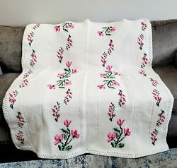 Cottagecore Cream Pink Floral Handmade Embroidery Crochet Afghan Throw Blanket