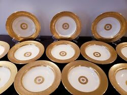 12 Rare Minton China For And Co Gold Encrusted Soup Plate/bowl England