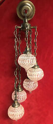 Vintage Antique 5-tier Swag Pendant Clear Glass Globe W/brass Fixture Hardware