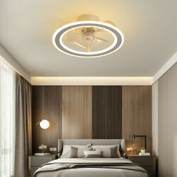 White Ceiling Fan With Light App And Remote Control Invisible 3color Changeable