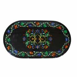 3and039x2and039 Black Marble Table Top Center Pietra Dura Inlay Living Room Antique Fge