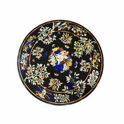 30and039and039 Black Round Marble Table Top Dining Pietra Dura Inlay Bird Room Antique Df