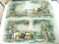 Pair Of Signed African Sand Paintings Vintage Art Africa Canvas Large Original