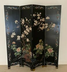 Vintage Chinese 4 Panel Screen Black Coromandel Lacquer Double Sided 64wx 72 T