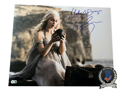 Emilia Clarke Signed And039game Of Thronesand039 Autograph 16x20 Photo Beckett Bas Got 5