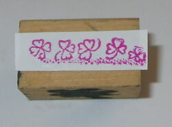 Clovers Rubber Stamp Irish Good Luck Mini Border Wood Mounted Leaves