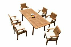 7pc Grade-a Teak Dining Set 94 Rectangle Table 6 Lagos Arm Chairs Outdoor Patio