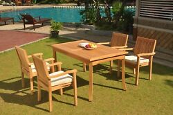 5pc Grade-a Teak Dining Set 60 Rectangle Table 4 Leveb Stacking Arm Chair Patio