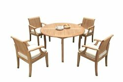 5pc Grade-a Teak Dining Set 52 Round Table 4 Lagos Arm Chairs Outdoor Patio