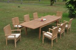 9pc Grade-a Teak Dining Set 122 Atnas Rectangle Table Wave Stacking Arm Chair