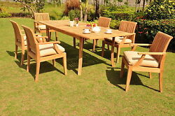 Lagos Grade-a Teak 7pc Dining 94 Rectangle Table 6 Arm Chairs Set Outdoor Patio