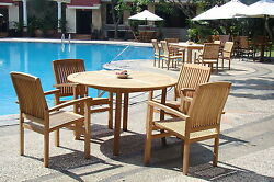 Wave Grade-a Teak 5 Pc Dining 48 Round Table 4 Stacking Arm Chair Set Patio Nw