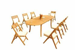 9pc Grade-a Teak Dining Set 94 Oval Table Surfliner Folding Reclining Chairs