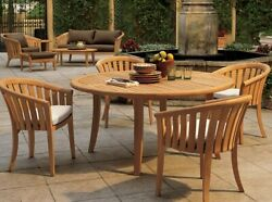 5pc Grade-a Teak Dining Set 52 Round Table 4 Lenong Arm Chair Outdoor Patio