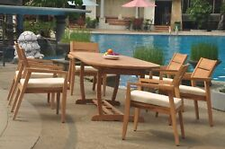 7pc Grade-a Teak Dining Set 94 Mas Oval Table Vellore Stacking Arm Chair Outdoor