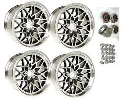 Trans Am 17 X 9 Black Snowflake Wheel Kit W Red Bird Center Caps And New Lug Nuts
