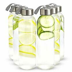 16 Ounce Glass Water Bottles Pack Of 6 Reusable Water Bottles With Airtight S...