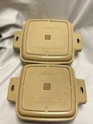 Vtg Littonware 1 And 1.5 Quart Square Casserole Dishes And Lids Microwavable 4pcs.