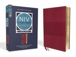 Niv Study Bible, Fully Revised Edition, Large Print, Leathersoft, Burgundy,...