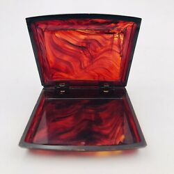 Vintage Hickok Ruby Red Marble Translucent Catalin Bakelite Compact Box
