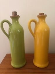 Set Of 2 Sur La Table Oil And Vinegar Decanters W Corks Yellow Andgreen Great Shape