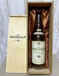 Macallan 10 Years Old Label Empty Bottle Whisky With Wooden Box Scotland Bottle