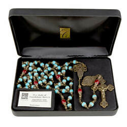 Our Lady Of Guadalupe Vintage Rosary 8-10mm-aqua Blue Beads Creed Italy