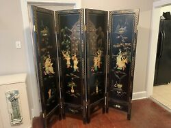 """Vintage Room Divider 72""""tallasian Inlays W/mop,jade And Soapstone Beautiful"""