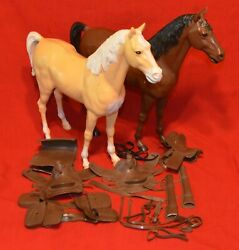 Vintage Marx Best Of The West Horse And Tack Lot Flame Thunderbolt Johnny West