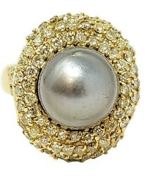 Ring Tahitian Pearl And Pave Diamond Cocktail 14k Yellow Gold 2.00 Ctw Size 8.25
