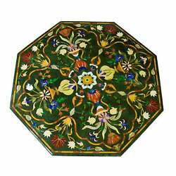 30and039and039 Green Marble Table Top Center Pietra Dura Inlay Home Decor Antique Dff