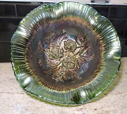 Imperial Lustre Rose Salad Bowl Green Electric Purple Carnival Glass 11x4.5 In