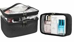Clear Makeup Bag Double Layer Cosmetic Bag Large Waterproof Cosemtic Travel C... $24.60