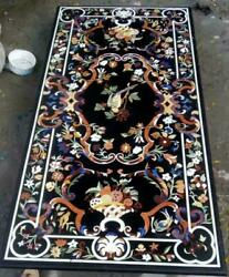 5and039x2.5and039 Black Marble Dining Center Table Top Inlay Art Home Decor Fancy Item