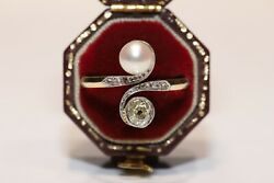 Antique Original 14k Gold Art Nouveau Natural Diamond And Pearl Decorated Ring