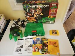 Nintendo N64 Jungle Green System Donkey Kong 64 Set In Box With All Inserts