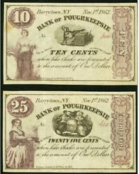 Obsolete Currency 2 Notes 1862 Barrytown, Ny- Bank Of Poughkeepsie 10¢ 25¢