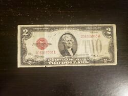 Vintage 1928-e 2 United States Note Two Dollar Bill Red Seal Fred Vinson