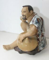 Vintage Beautifull Small Rare Statuette Asian With A Bowl Majolica Hand Carved