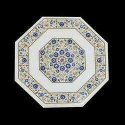 24and039and039 White Marble Table Top Center Corner Lapis Malachite Inlay Decor Antique Cv