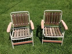 Vintage Mid Century Folding Aluminum Red Wood Slat Lawn Camping Chairs Pair