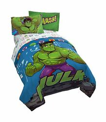 Jay Franco Marvel Super Hero Adventures Hulk Out 4 Piece Twin Bed Set - Inclu...