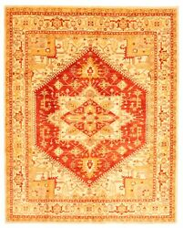 Vintage Geometric Hand-knotted Carpet 8'11 X 11'2 Traditional Wool Area Rug