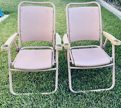 Set Of 2 Vintage Metal And Molded Plastic Rose Bowl Folding Chairs - Clean