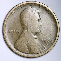 1909-s Lincoln Wheat Small Cent Choice Vg Free Shipping E140 Amw