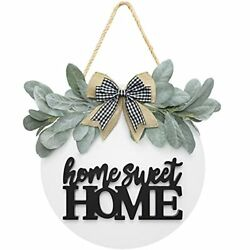 Welcome Home Sweet Home Sign For Front Porch Door Decor Farmhouse Wreath Sign...