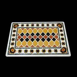 4'x2' White Marble Table Top Stone Inlay Center Coffee Malachite Antique Yh