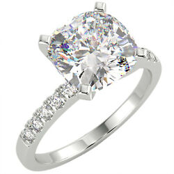 2 Ct Cushion Cut Vs1/g Solitaire Pave Diamond Engagement Ring 14k White Gold